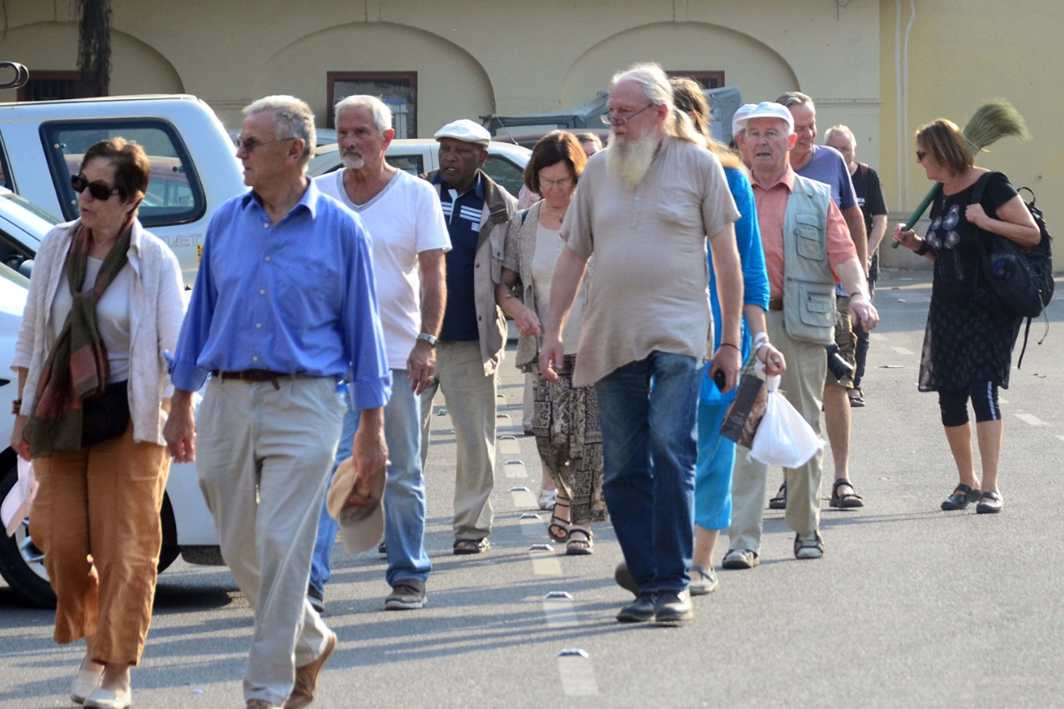GUIDED TOUR: Foreign tourists visit Jantar Mantar, the historical monument in Jaipur, UNI