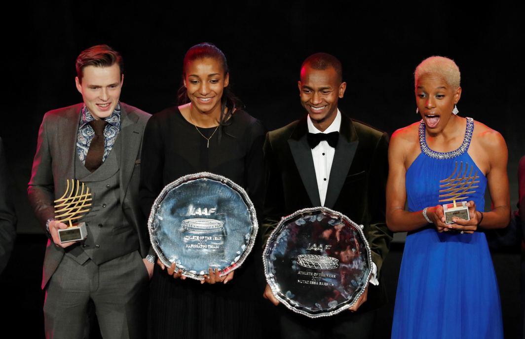 FASTEST, STRONGEST: Belgium's Nafissatou Thiam (2nd L) with the Female Athlete Of The Year award, Qatar's Mutaz Essa Barshim (2nd R) with the Male Athlete Of The Year award, Venezuela's Yulimar Rojas (R) with the Women's Rising Star Award and Norway's Karsten Warholm (L) with the Male Rising Star Award celebrate with their trophies during the IAAF Athletics Awards Grimaldi Forum, Monaco, Reuters/UNI