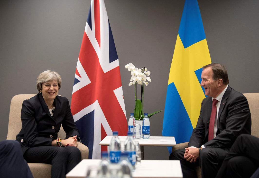 SHOP TALK: Britain's Prime Minister Theresa May meets with her Swedish counterpart Stefan Lofven at Gothia Towers Hotel on the eve of the EU Social Summit for Fair Jobs and Growth in Gothenburg, Sweden, Reuters/UNI