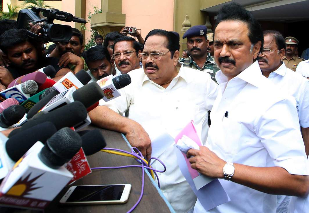 FIGHT PLAN: DMK working president MK Stalin talks to mediapersons after discussing with party leaders the subject of RK Nagar by-elections, in Chennai, UNI