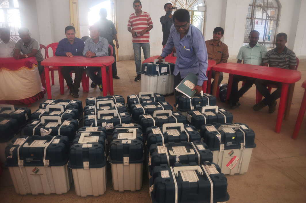 LESSONS IN DEMOCRACY: Election officials during a training session with EVMs and VVPAT (Voter Verified Paper Audit Trails) machines at Umakanta Academy in Agartala. Tripura is scheduled to undergo assembly elections in February, UNI