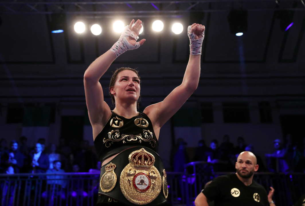 CHAMPION: Katie Taylor celebrates after beating Jessica McCaskill to win the WBA Women's World Lightweight Title at York Hall, Bethnal Green, London, Reuters/UNI