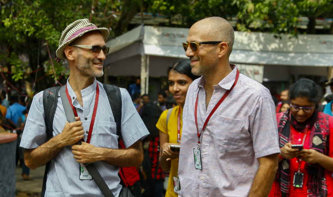 DAY IN THE SUN: Foreign delegates at the International Film Festival of Kerala (IFFK) venue in Thiruvananthapuram, UNI