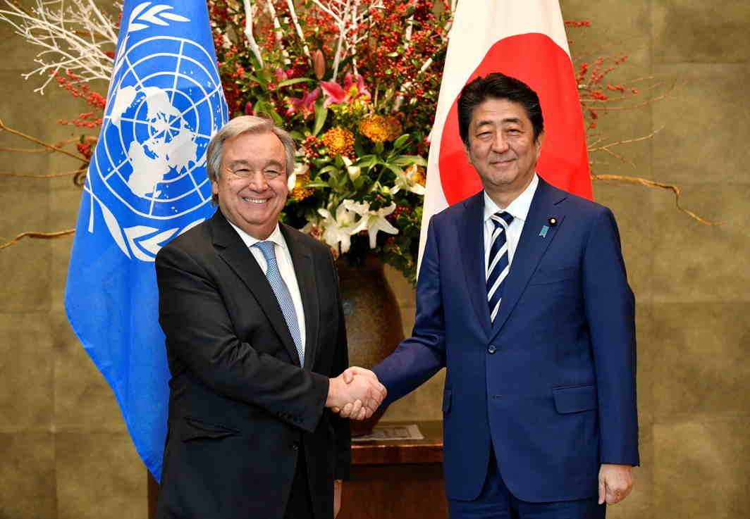 SHARED WORRIES: United Nations Secretary-General Antonio Guterres (left) is welcomed by Japan's Prime Minister Shinzo Abe upon his arrival at the PM's official residence in Tokyo, Japan, Reuters/UNI