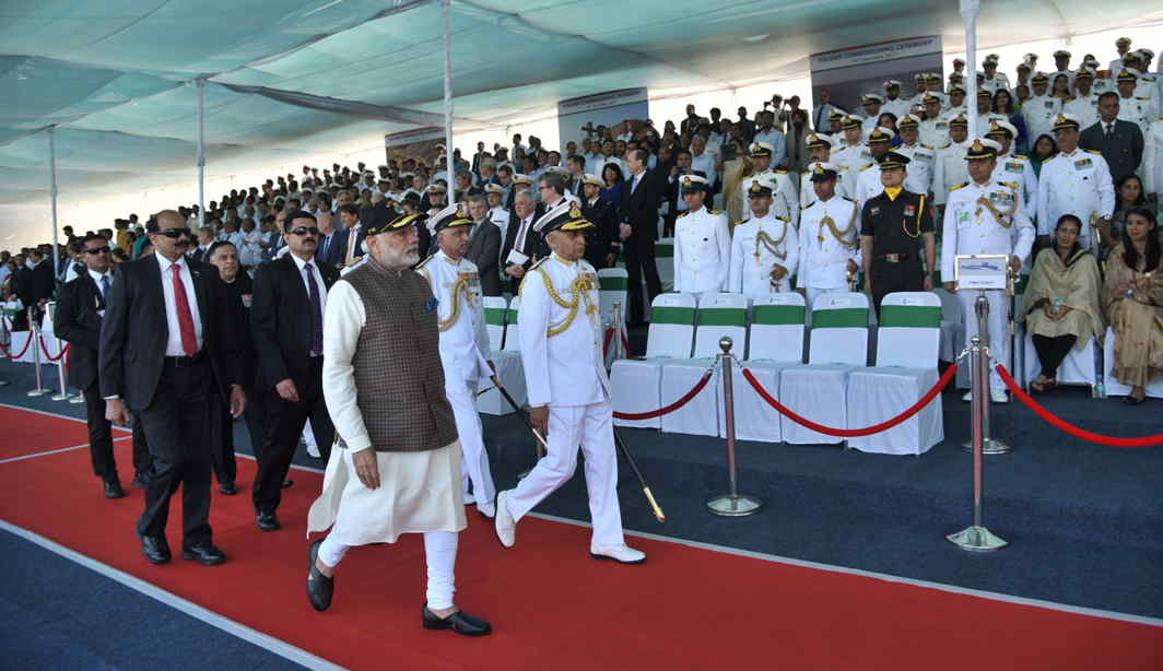 GO FORTH AND CONQUER: Prime Minister Narendra Modi at the commissioning ceremony of the naval submarine, INS Kalvari, into the Indian Navy, in Mumbai, UNI