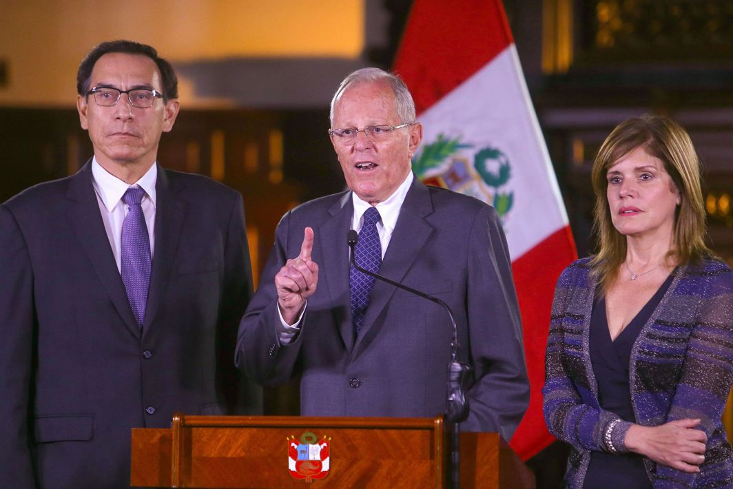 MIRED IN SCANDAL: Peruvian president Pedro Pablo Kuczynski (centre) accompanied by his vice-presidents Martin Vizcarra (left) and Mercedes Araoz address the nation at the Government Palace in Lima, Peru, Reuters/UNI