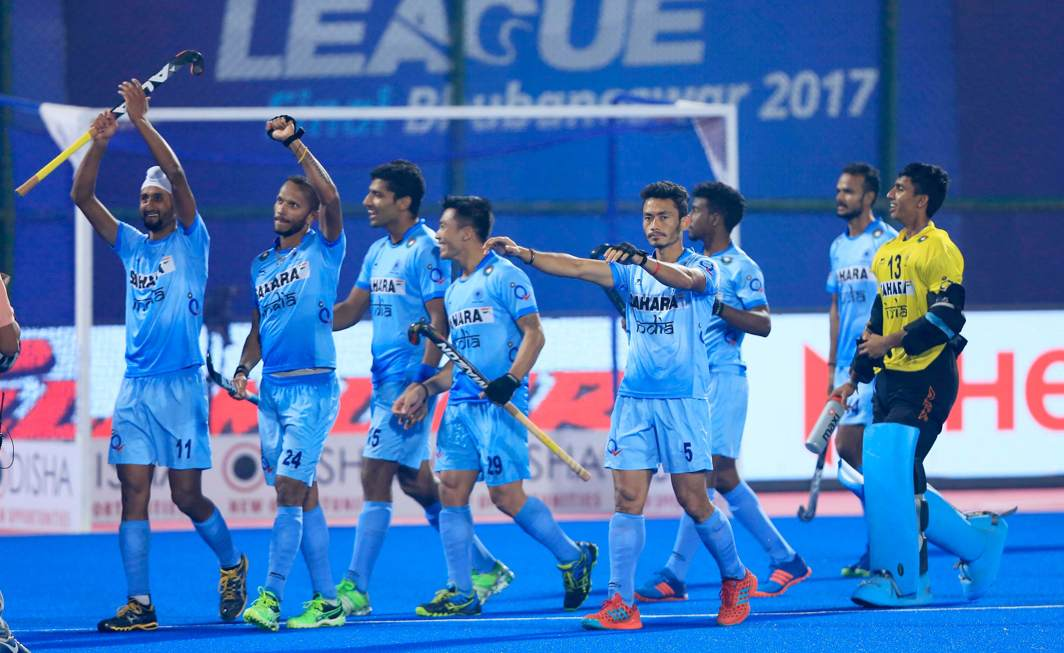 HARD-WON: Indian players celebrate their victory after beating Belgium during the quarter-final match of Odisha Hockey World League, played at Kalinga Stadium in Bhubaneswar, UNI