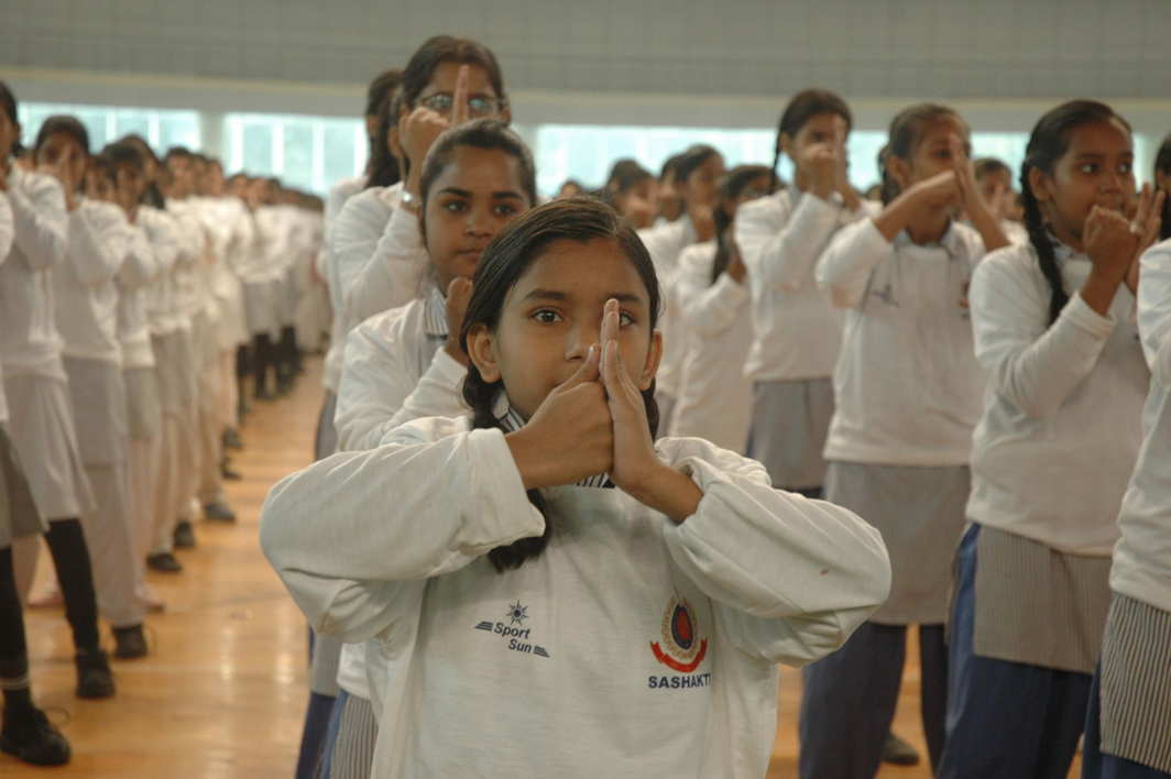 STAND STRONG: Schoolgirls demonstrate self-defence techniques during the closing ceremony of Sashakt, an initiative of Delhi Police towards empowering women, in New Delhi, UNI