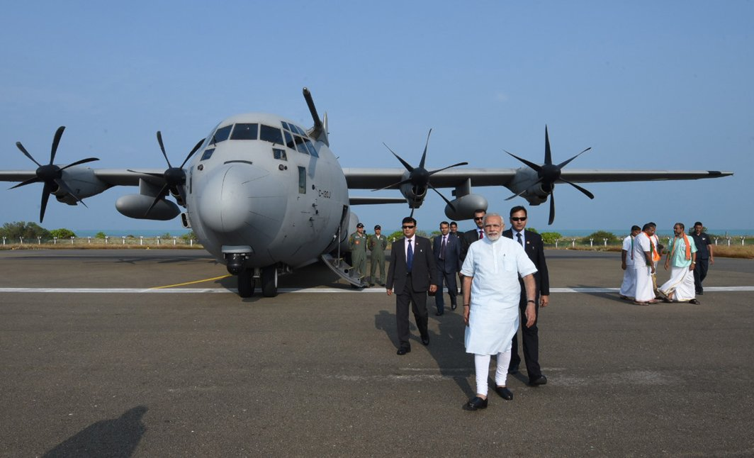 FLYING IN: Prime Minister Narendra Modi arrives in Lakshadweep to review the situation arisen due to Cyclone Ockhi, UNI