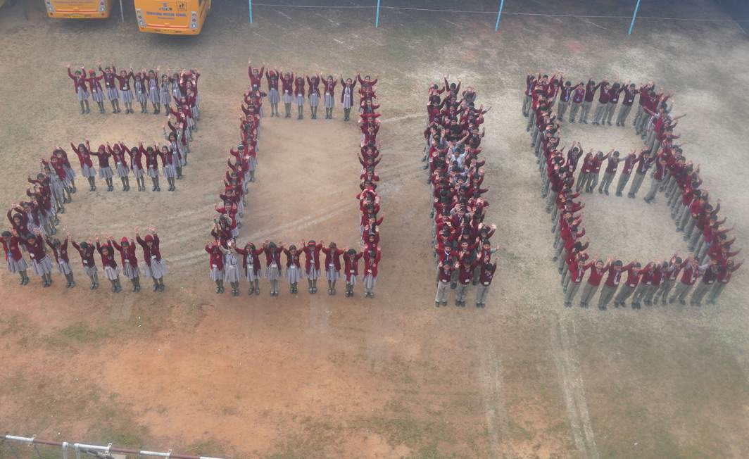 CHOREOGRAPHED: Students form a '2018' to welcome the new year in their school in Agartala, UNI