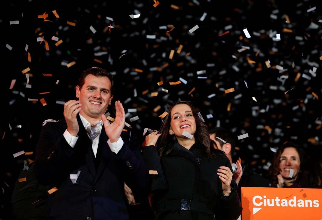 VINDICATED: Catalan Ciudadanos leader Ines Arrimadas (C) smiles next to Ciudadanos national leader Albert Rivera at a Ciudadanos rally after results were announced in Catalonia's regional elections in Barcelona, Spain, Reuters/UNI