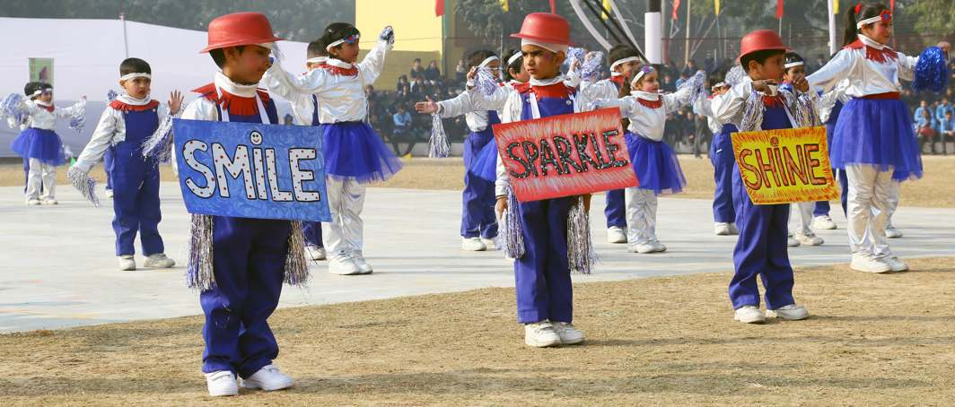 TINY TOTS: Students of Air Force Golden Jubilee Institute perform during the opening ceremony of the AFGJI Annual Athletic Meet 2017 at Subroto Park, in New Delhi, UNI