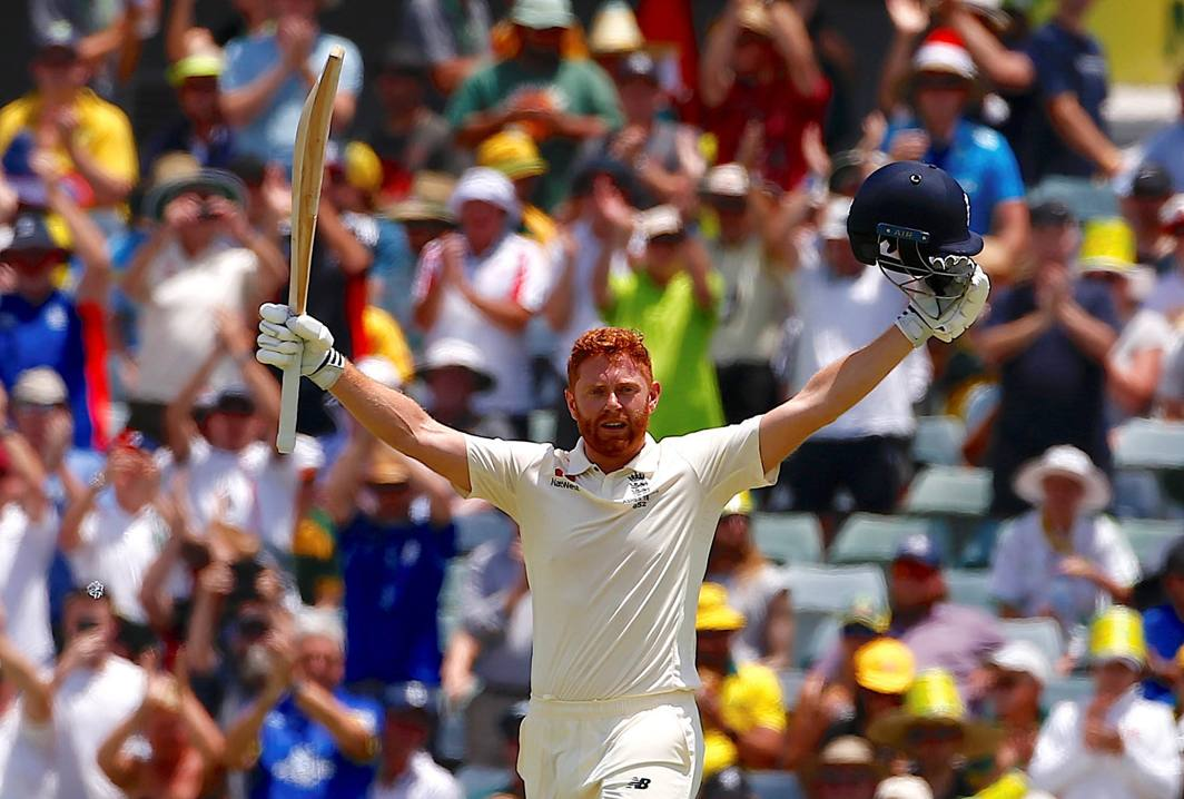 GOOD EFFORT: England's Jonny Bairstow celebrates his ton during the second day of the third Ashes cricket Test in Perth, Australia, Reuters/UNI