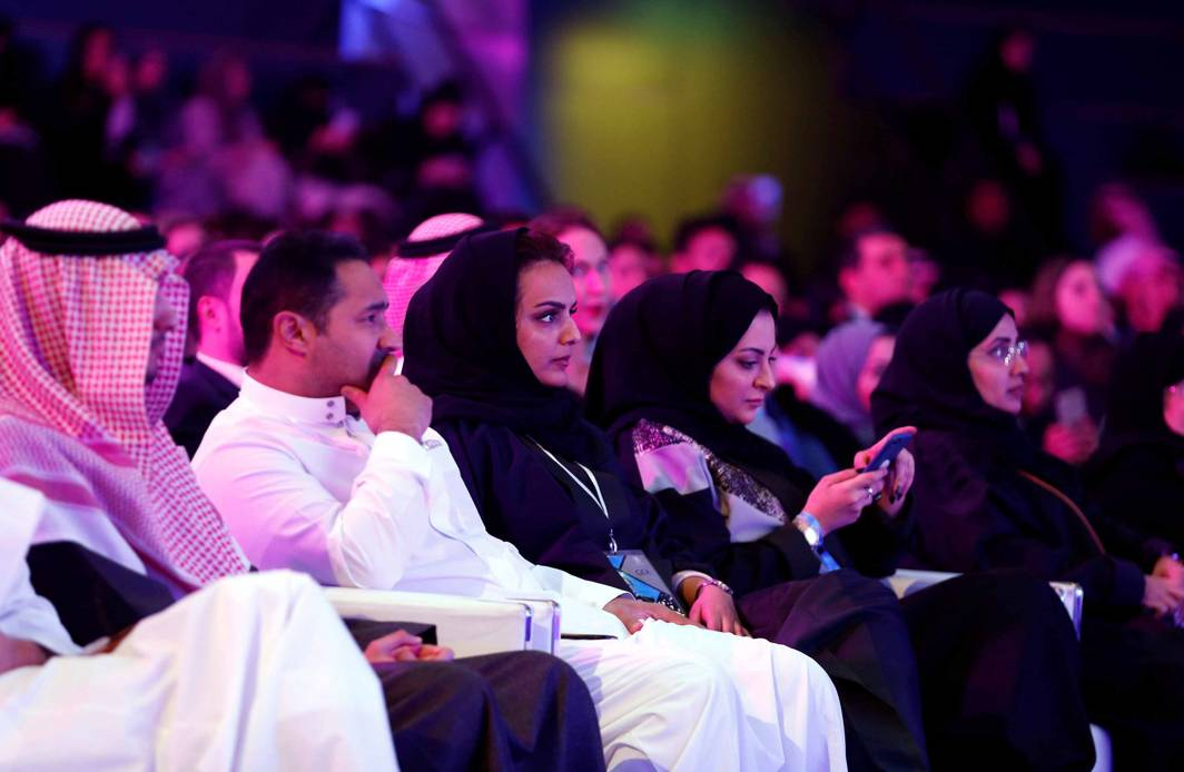 COMING OUT: People attend the performance of actor John Travolta at APEX Convention Center in Riyadh, Saudi Arabia, Reuters/UNI