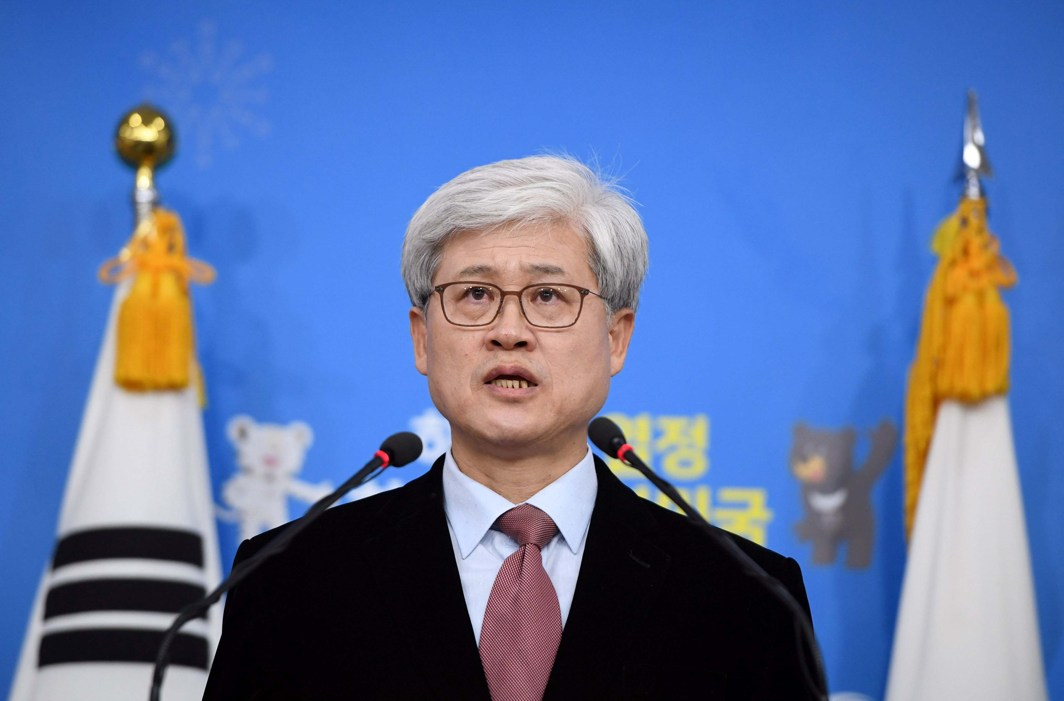 """OF COMFORT WOMEN: Oh Tai-Kyu, head of a special task force for investigating the 2015 South Korea-Japan agreement on South Korea's """"comfort women"""" issue, speaks during a briefing on his investigation at the foreign ministry in Seoul, South Korea, Reuters/UNI"""
