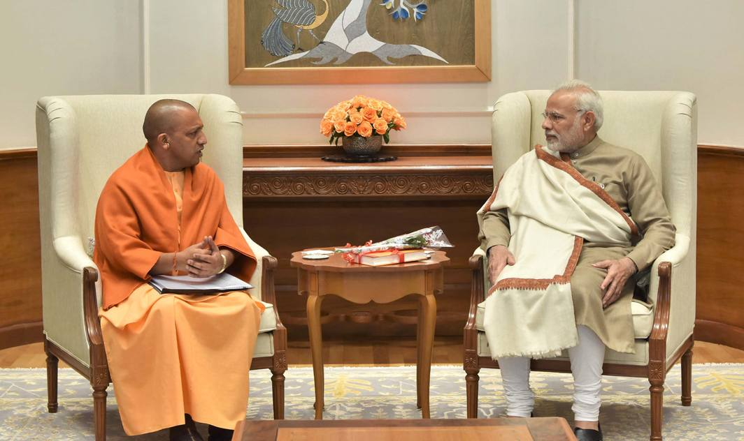 COMMON INTERESTS: Uttar Pradesh Chief Minister Yogi Adityanath calls on Prime Minister Narendra Modi, in New Delhi, UNI