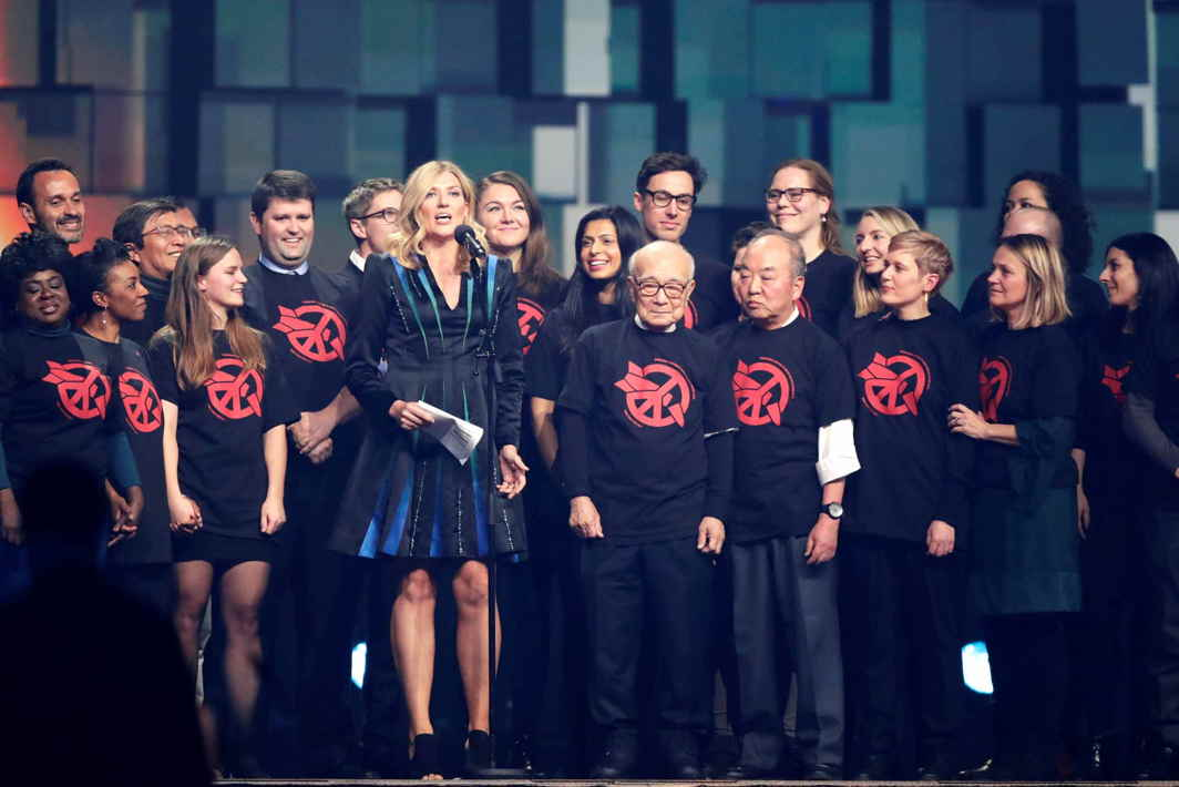 A MESSAGE AND A SONG: Beatrice Fihn, executive director of International Campaign to Abolish Nuclear Weapons (ICAN), delivers a speech during the traditional Nobel Peace Prize concert honouring the laureates, at Telenor Arena in Fornebu, Norway, Reuters/UNI