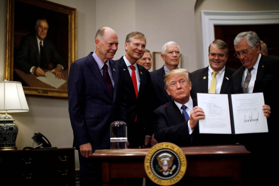 WHO'S PREZ? US President Donald Trump participates in a signing ceremony for Space Policy Directive at the White House in Washington DC, US, Reuters/UNI