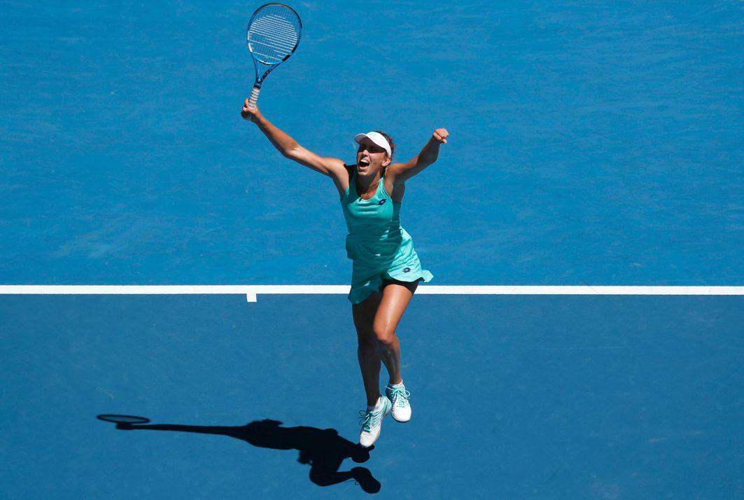 RARE OPPORTUNITY: Elise Mertens of Belgium celebrates winning against Elina Svitolina of Ukraine to reach the semifinals of the Australian Open in Rod Laver Arena, Melbourne, Australia, Reuters/UNI