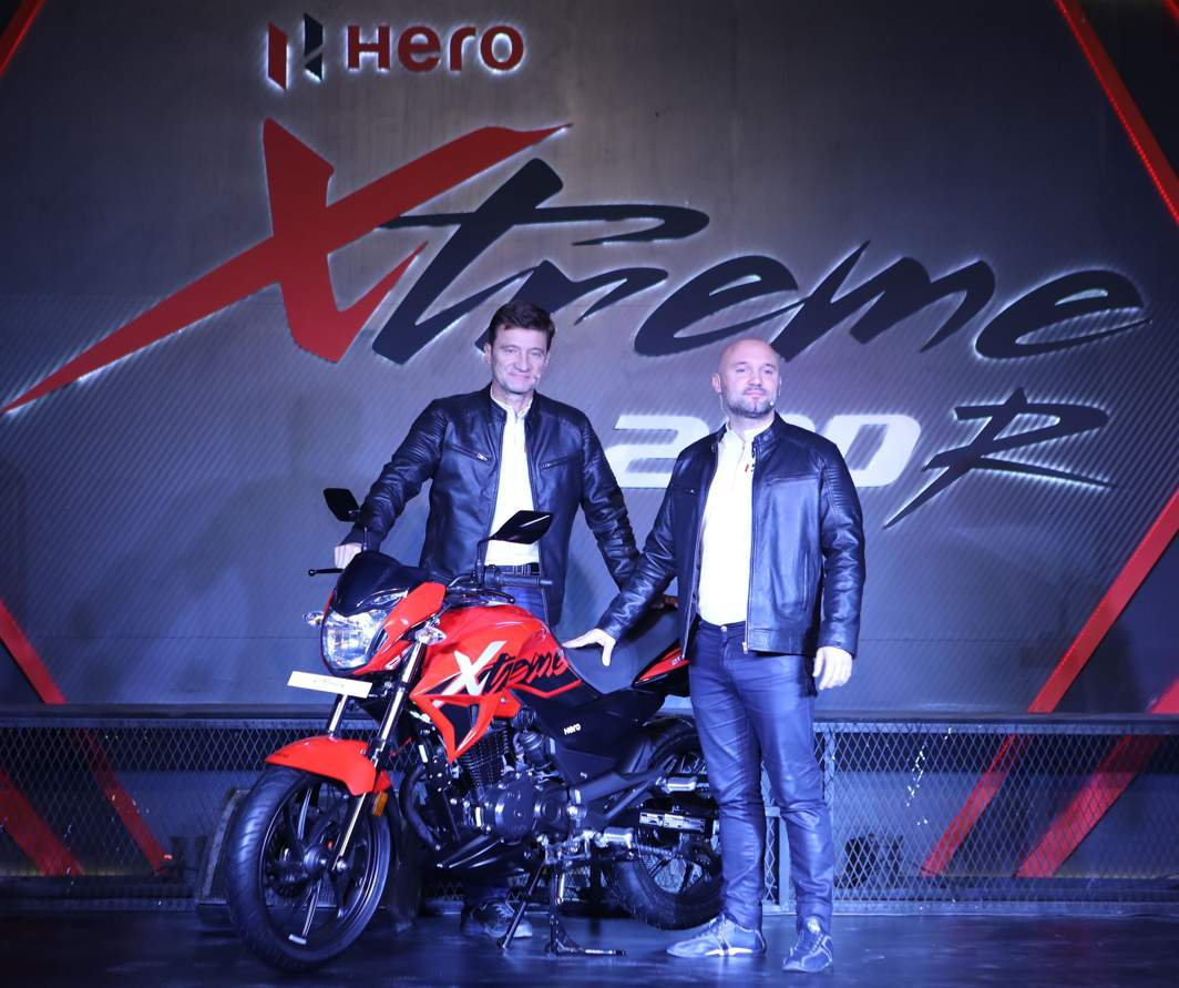 LABOUR OF LOVE: Chief Technology Officer Hero MotoCorp, Markus Braunsperger, and Malo Le Masson-Head of Global Product Planning, Hero MotoCorp. during the launch of the new motorbike Xtreme200R, in New Delhi, UNI
