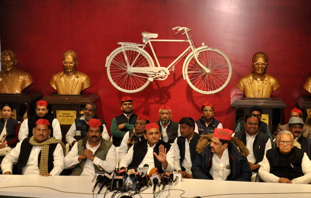 CYCLING DREAM: Former Uttar Pradesh Chief Minister and Samajwadi Party president Akhilesh Yadav addresses a press conference at the party office in Lucknow, UNI
