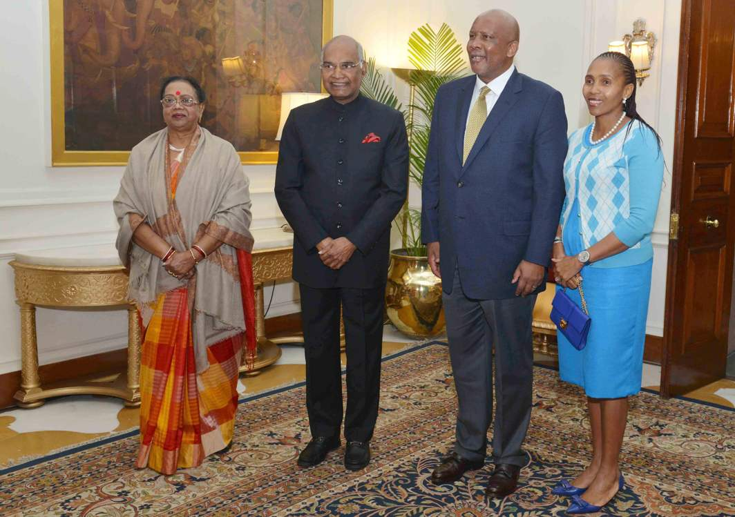 COURTESY CALL: King Letsie III, King of Lesotho and Queen Masenate Mohato Seeiso, call on President Ram Nath Kovind and the First Lady of India at Rashtrapati Bhavan, in New Delhi, UNI