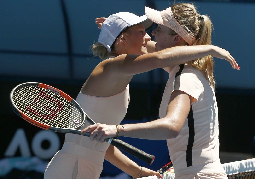WELL-PLAYED: Elina Svitolina and Marta Kostyuk, both of Ukraine, embrace after Svitolina wins her match during Australian Open in Rod Laver Arena, Melbourne, Reuters/UNI