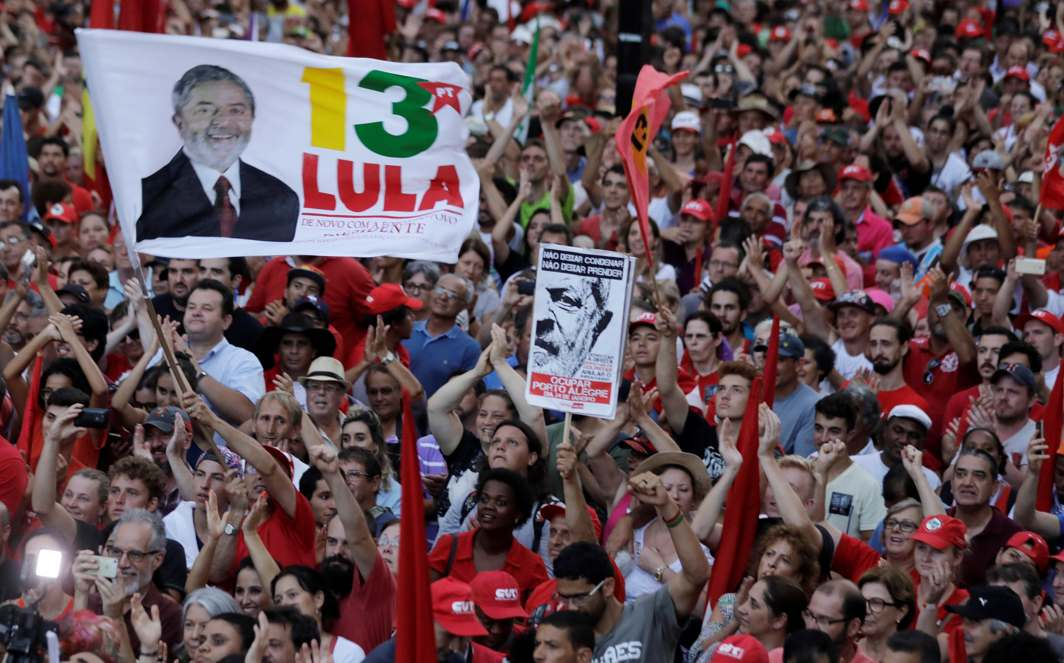 ELECTION FEVER: Supporters of former Brazilian president Luiz Inacio Lula da Silva attend a rally in support of his candidacy to the 2018 presidential race, in Porto Alegre, Brazil, Reuters/UNI