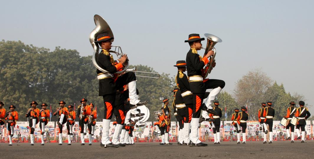 BOLD AND COLOURFUL: An NCC band performs during the visit of Minister of State for Defence Subhash Bhamre at NCC's Republic Day camp 2018, in New Delhi, UNI