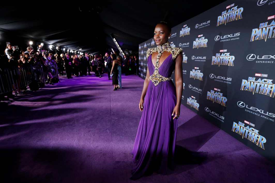 """BLACK PANTHER: Cast member Lupita Nyong'o poses at the premiere of """"Black Panther"""" in Los Angeles, California, US, Reuters/UNI"""