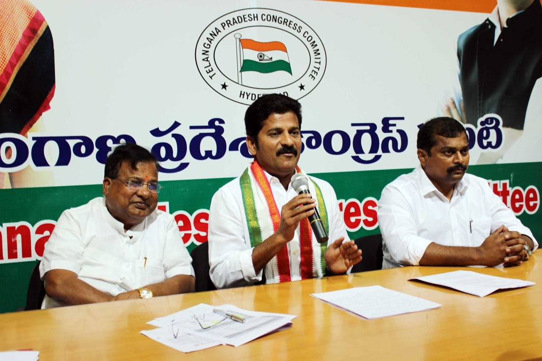 HOPEFUL OF SUPPORT: Congress MLA A Revanth Reddy addresses a press conference at Gandhi Bhavan in Hyderabad, UNI