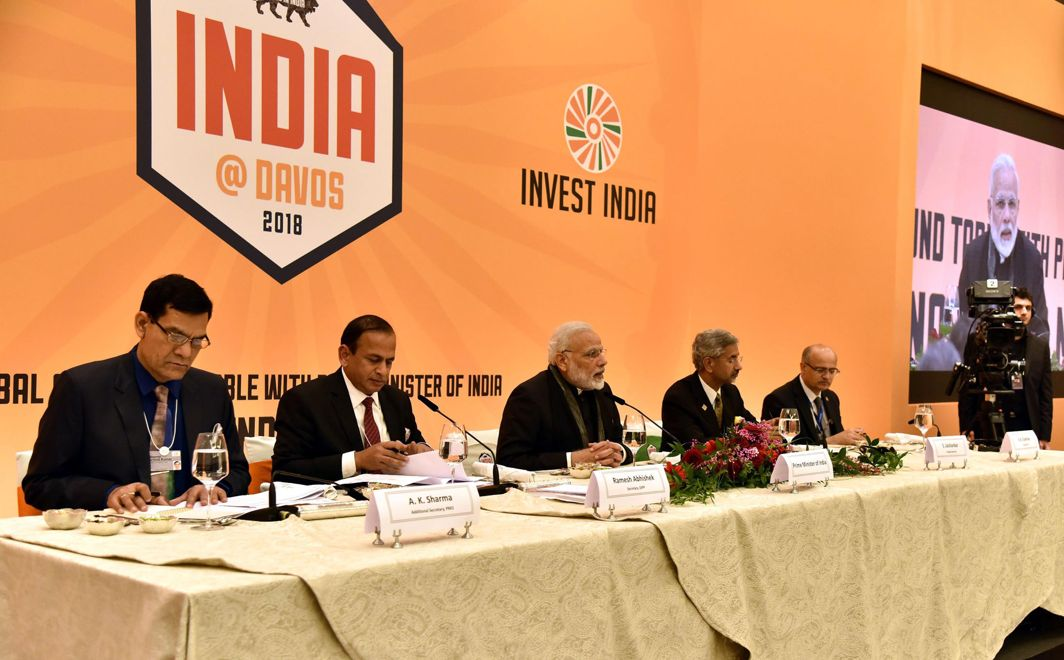 SHOPPING FOR INVESTORS: Prime Minister Narendra Modi at a roundtable meeting with CEOs, in Davos, UNI