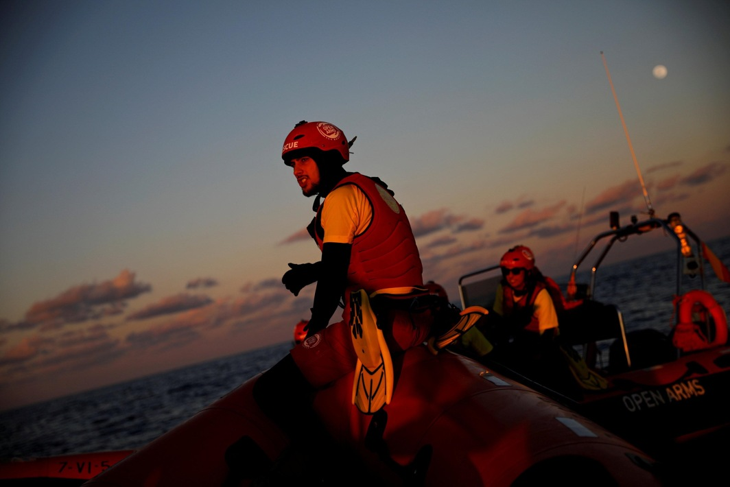 PRESERVE, PROTECT: Lifeguards of Spanish NGO Proactiva Open Arms Xavi Cerda are seen onboard an RHIB during a rescue operation simulation in central Mediterranean Sea, Reuters/UNI