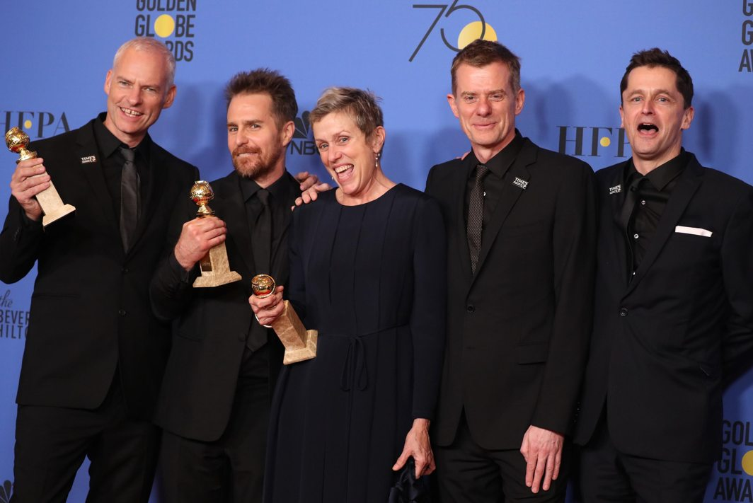 "WATCH OUT FOR IT: Martin McDonagh (L) poses backstage with cast and producers of ""Three Billboards Outside Ebbing, Missouri"" after winning for Best Motion Picture, Drama, during the 75th Golden Globe Awards at Beverly Hills, California, US, Reuters/UNI"