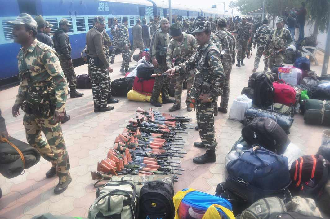 GUNS AND AMMUNITION: CRPF personnel on arrival at Agartala railway station ahead of Tripura Assembly election, UNI