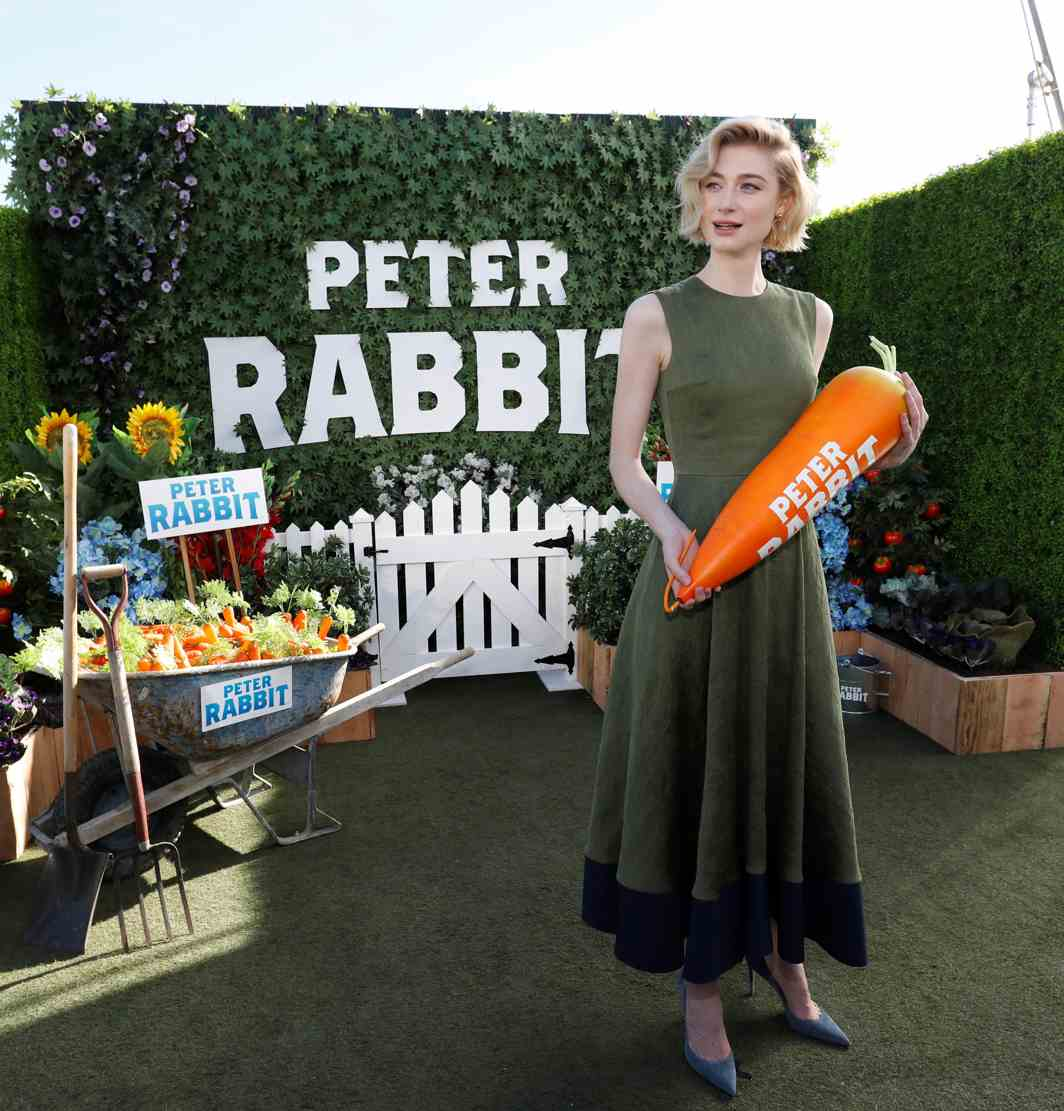 """ANIMAL STORY: Cast member Elizabeth Debicki poses at a photo call for the movie """"Peter Rabbit"""" in West Hollywood, California, US, Reuters/UNI"""