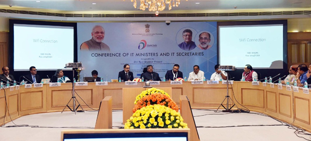 TECH TALK: Union Minister for Electronics and Information Technology and Law and Justice Ravi Shankar Prasad at the inauguration of the State IT Ministers Conclave, in New Delhi, UNI