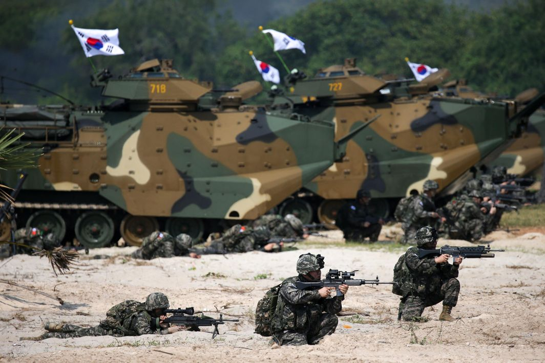 "FIGHT BACK: South Korean marines participate in an amphibious assault exercise as part of the ""Cobra Gold 2018"" (CG18) joint military exercise at a military base in Chonburi province, Thailand, Reuters/UNI"