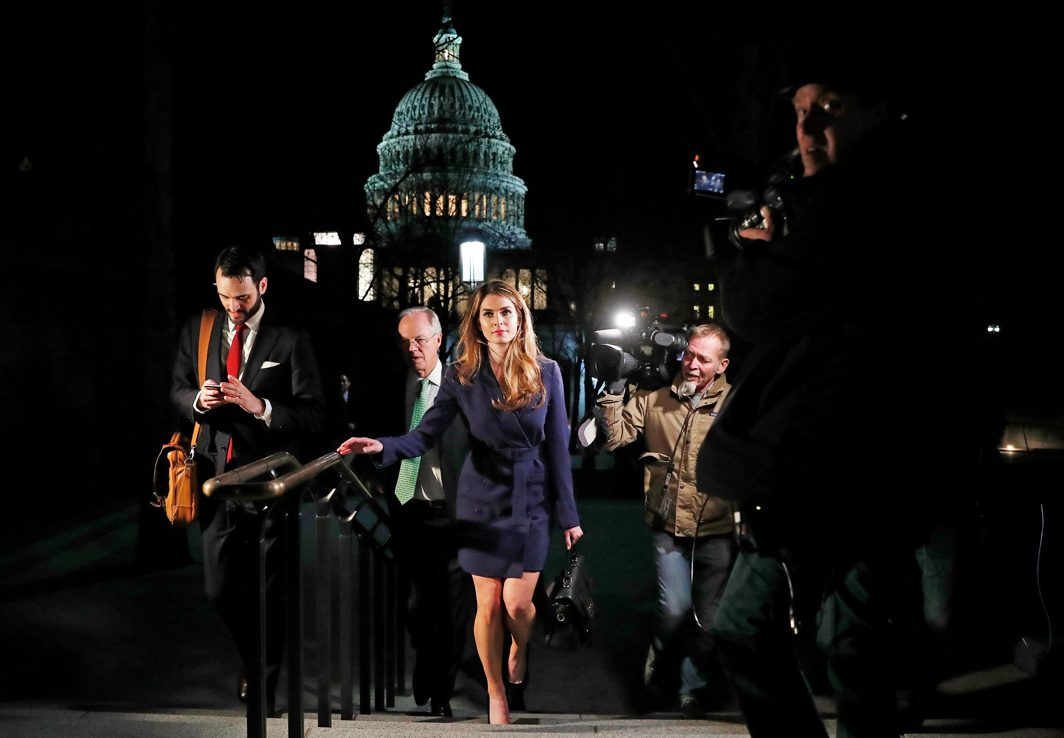 WHITE LIES FOR TRUMP: White House Communications Director Hope Hicks leaves after attending the House Intelligence Committee closed door meeting at the US Capitol in Washington, US, Reuters/UNI