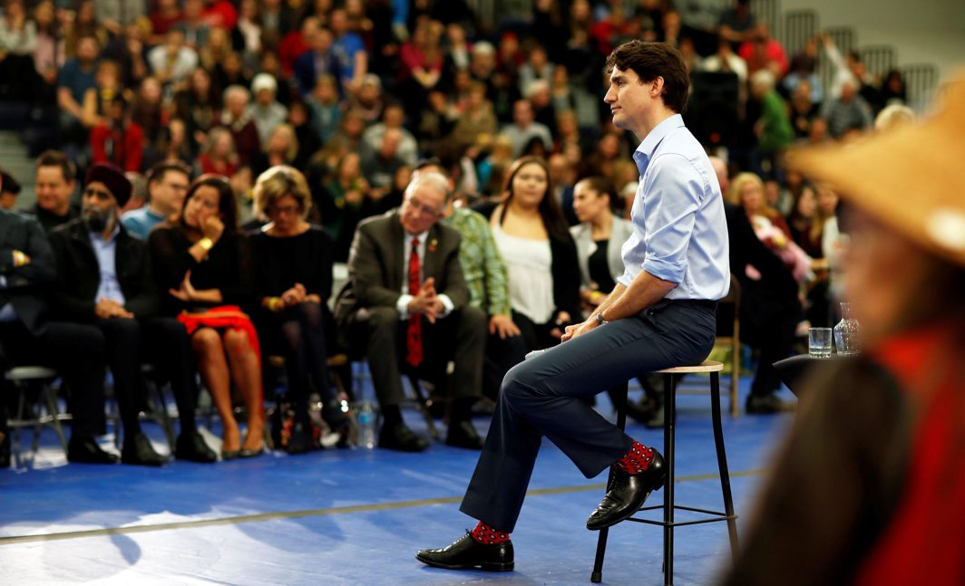 SHOUTED DOWN: Canada's Prime Minister Justin Trudeau addresses the crowd during a town hall meeting at Vancouver Island University in Nanaimo, British Columbia, Canada, which was also marked by protests against the Trans Mountain Pipeline passing through the state, Reuters/UNI