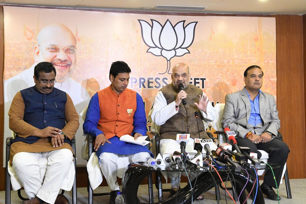 CAMPAIGN MODE: BJP national president Amit Shah addresses a press conference in Agartala, UNI
