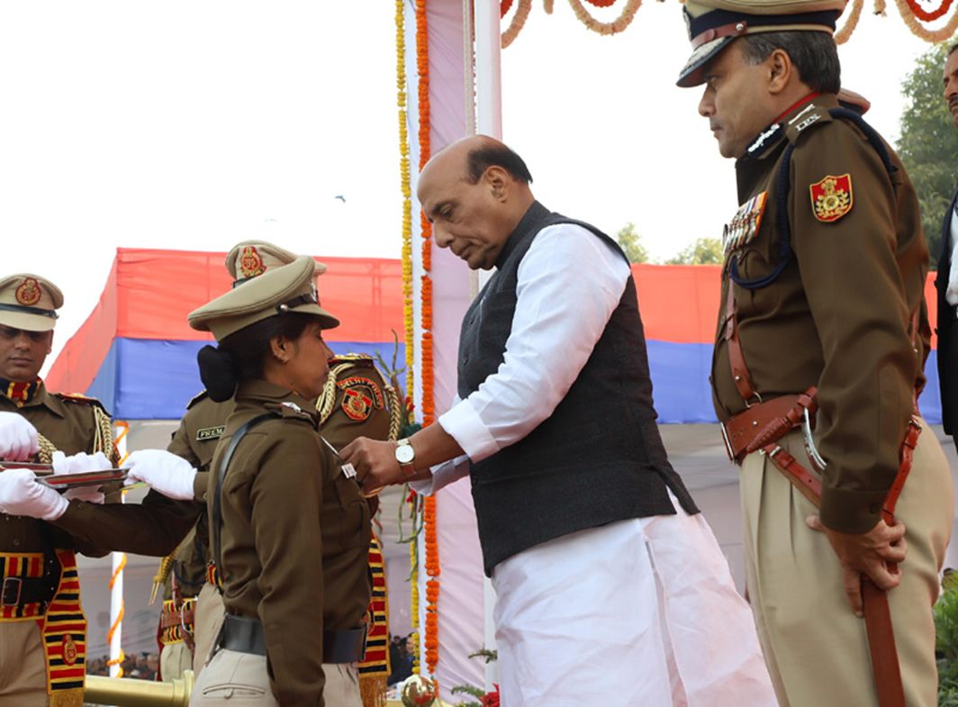 PROUD MOMENT: Union Home Minister Rajnath Singh gives away medals, during the 71st Raising Day Parade of Delhi Police, in New Delhi, UNI