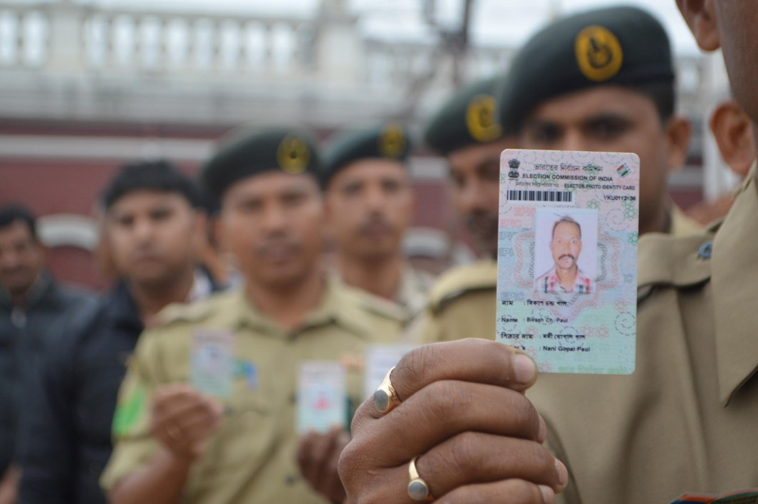 ELECTING THE LEADER: Security personnel engaged in polling work wait in a queue for casting their postal votes, in Agartala, UNI