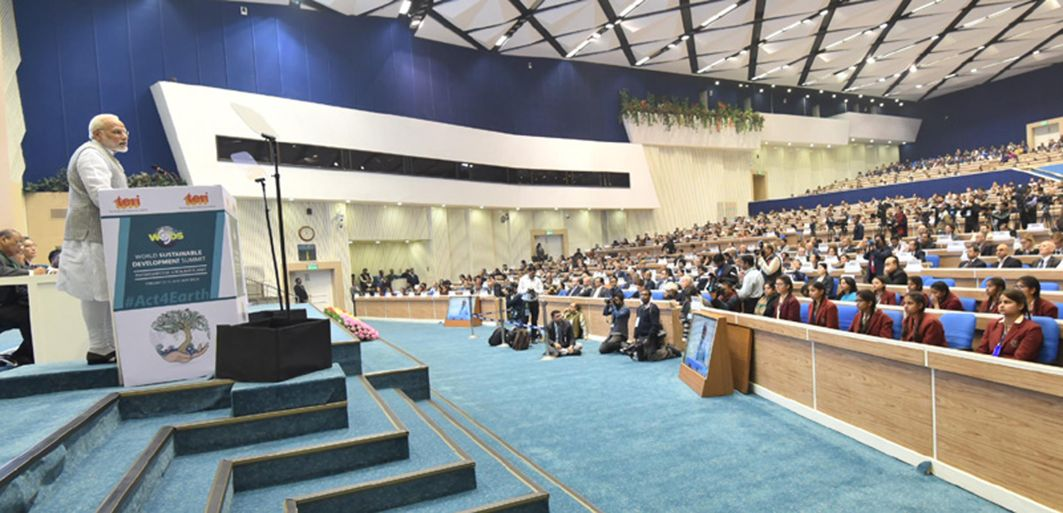 GRAND AUDIENCE: Prime Minister Narendra Modi addresses the inauguration of the World Sustainable Development Summit 2018, in New Delhi, UNI