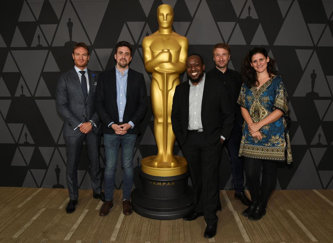 COVETED STATUETTE: Josh Lawson (L-R), Reed Van Dyk, Kevin Wilson Jr, Tobias Rosen and Katja Benrath attend the Oscar Week: Shorts reception and screening in Beverly Hills, California, US, Reuters/UNI