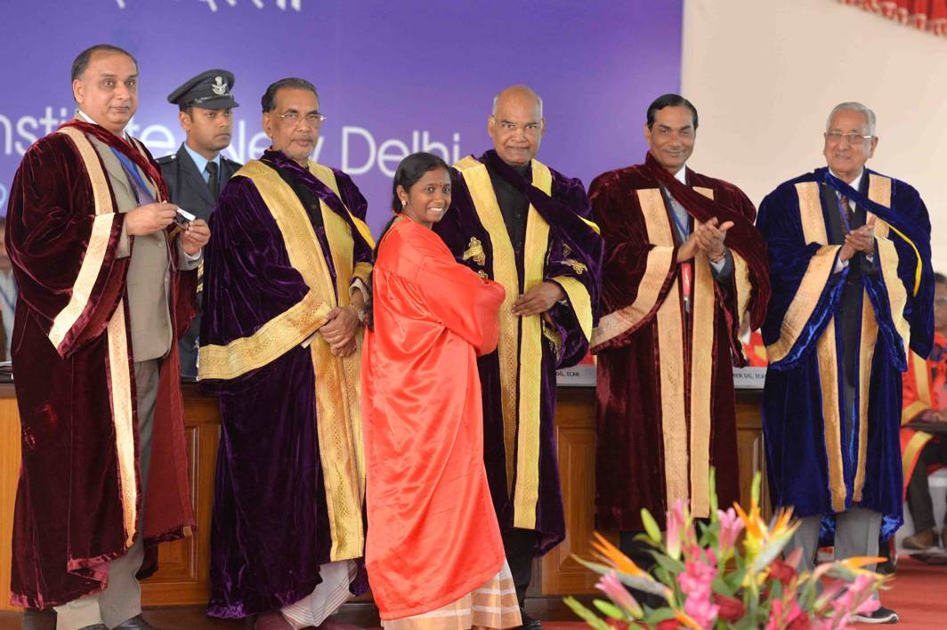 PROUD MOMENT: President Ram Nath Kovind with Union minister for agriculture and farmers welfare Radhamohan Singh present degrees during the 56th Convocation of Indian Agricultural Research Institute at IARI Campus, Pusa, in New Delhi, UNI