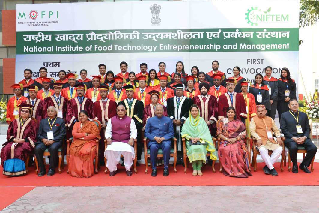 POSING WITH THE PRESIDENT: President Ram Nath Kovind poses for a photograph with the recipients of degrees during the 1st Convocation of National Institute of Food Technology Entrepreneurship and Management (NIFTEM) at Sonepat in Haryana, UNI