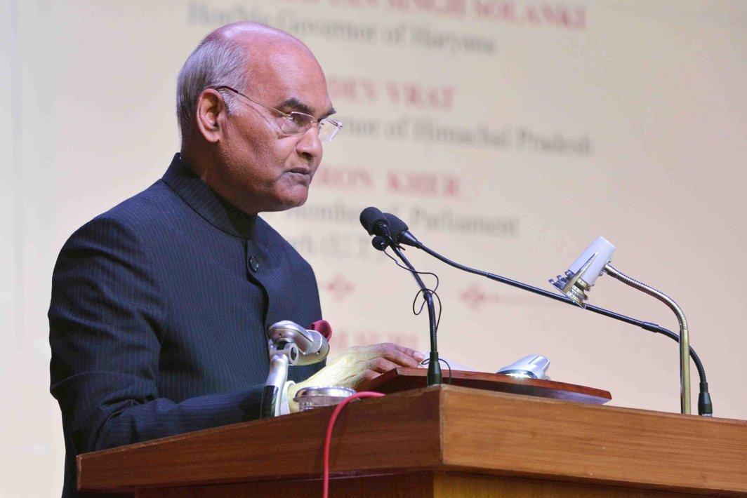 WORDS OF WISDOM: President Ram Nath Kovind addresses the golden jubilee celebrations of the Mehr Chand Mahajan DAV College for Women in Chandigarh, UNI