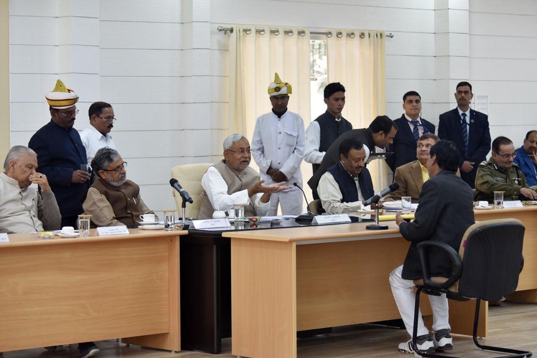 MEET THE PEOPLE: Bihar Chief Minister Nitish Kumar along with deputy CM Sushil Kumar Modi during the Lok Samvad programme at the Secretariat, in Patna, UNI