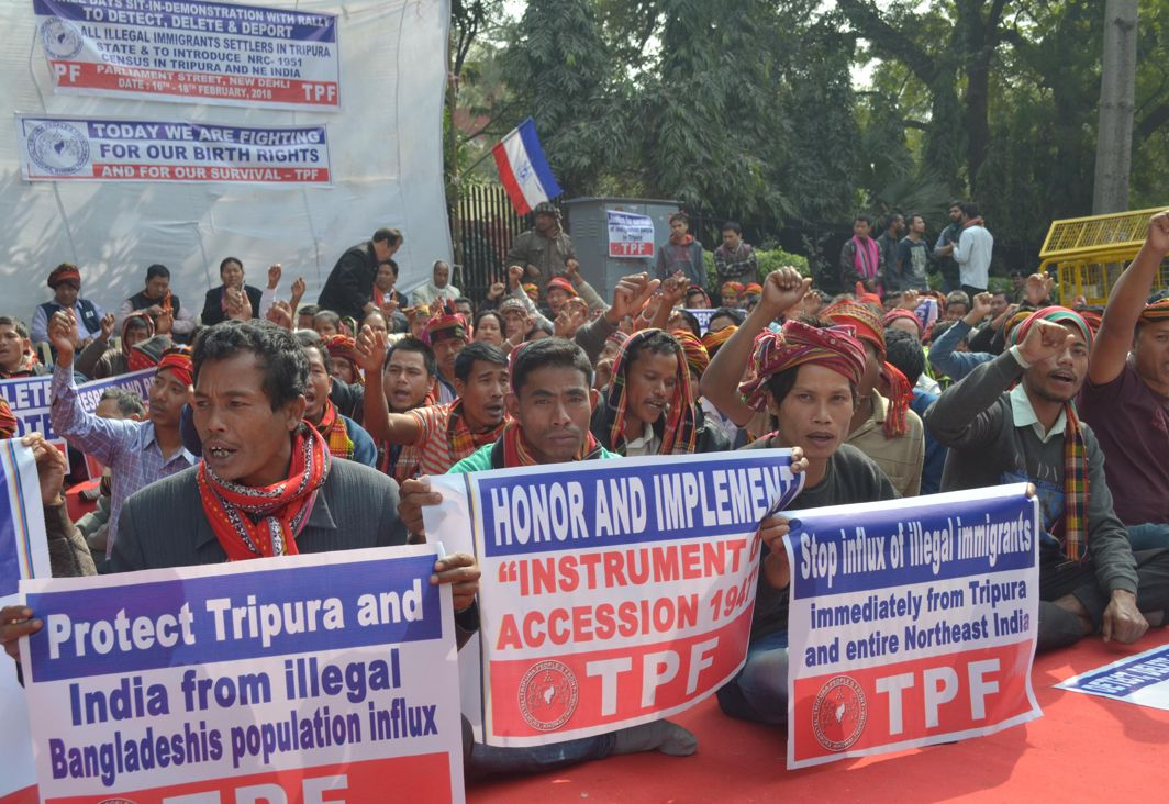 NOT WELCOME HERE: Activists of Tripura Peoples Front (TPF) stage a protest against the alleged participation of Bangladeshi migrants in Tripura assembly polls at Jantar Mantar in New Delhi, UNI